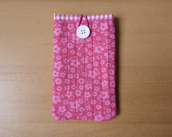 iPhone/ Smartphone/ Cell phone cover - Fabric, pink, flowers