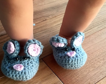 Crochet Mouse Slippers (newborn - 12 months)