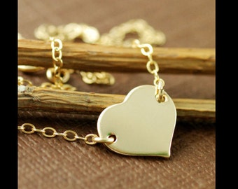 Gold Heart Tag Necklace - romantic sentimental valentine's love heart romance