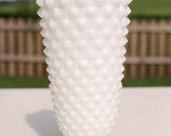 Fenton Hobnail Milk Glass Small Crown Top Vase