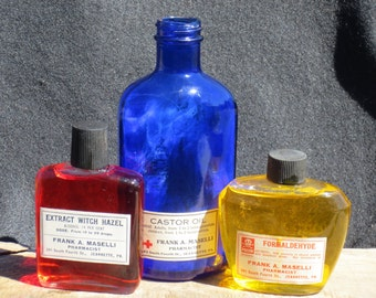 Witch's Brew, Vintage Poison Bottles, Halloween Prop, Collection Set of Three