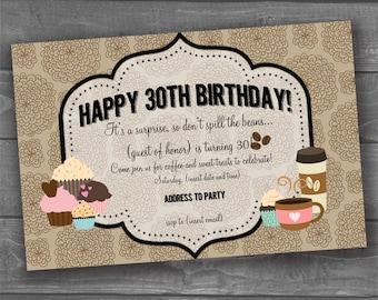 "Digital ""Coffee & Cupcakes"" Surprise Party Invitation"