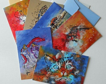 Six artist' postcards with envelope