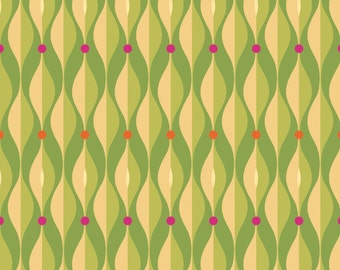 Olive Geometric - Seedheads collection by Cary Phillips for Clothworks