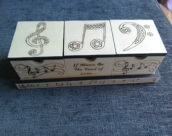 Set of 3 Music-themed Boxes with Nesting Tray - Black