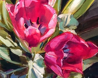 tulips // original oil painting // flower art // flower painting // home decor