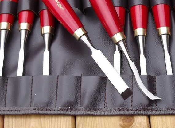 Pc wood turning chisels and gouges set with storage