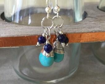 Turquoise Beaded Cluster Earrings