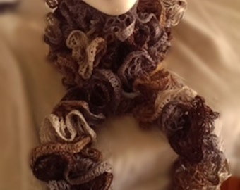 Ruffled Scarf - Shades of Brown