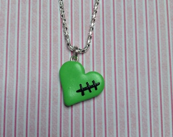 Polymer Clay Halloween Zombie Heart Necklace