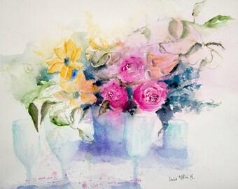 Flowers watercolor,Original painting, Original Watercolour, Watercolor, flower painting, flowers