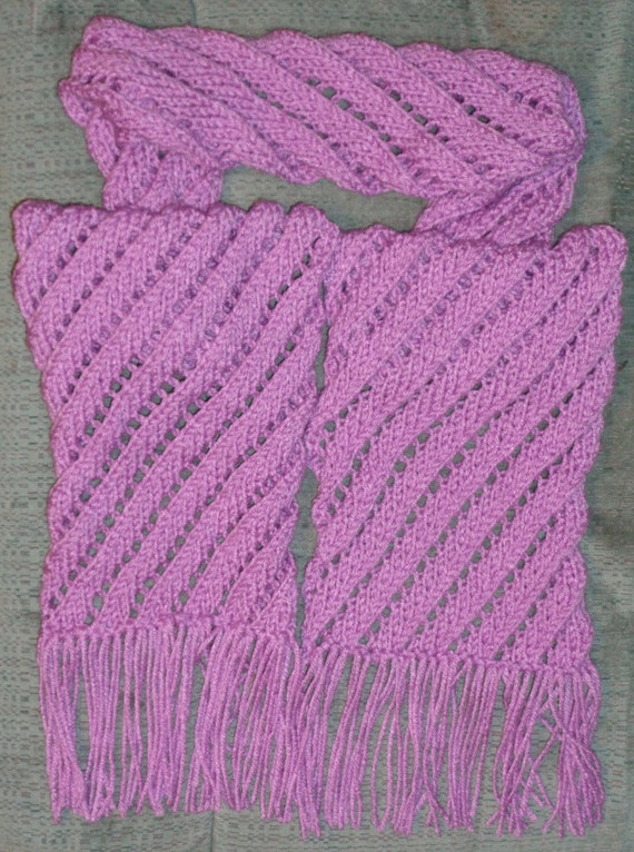 Knitting Pattern Diagonal Eyelets Scarf