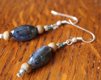 Handmade oval bead earrings