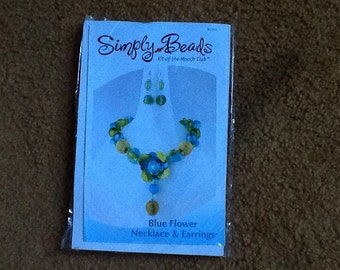 Blue Flower Necklace & Earring kit