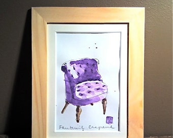 "Original Watercolor - Art - Framed - Home Decor - Purple ""Fauteuil Crapaud"""