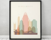 cincinnati print poster wall art cincinnati skyline ohio art city prints