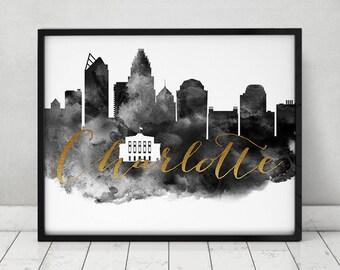 Charlotte art print, Black and white Poster, Wall art, skyline, faux gold text, North Carolina, City print, Home Decor, ArtPrintsVicky