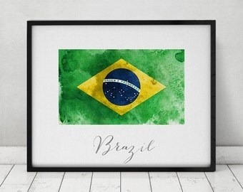 Brazil flag print, Brazil art poster, travel, Wall art, watercolor flag, office decor, Home Decor, gift, Wall Decor,ArtPrintsVicky