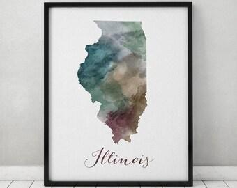 Illinois print, Illinois map, Poster, United States print, Wall art, Illinois state print, typography art, watercolor print, ArtPrintsVicky