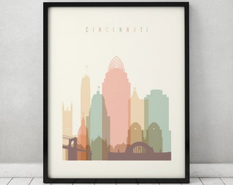 cincinnati print poster wall art cincinnati skyline ohio art city prints - Home Decor Cincinnati