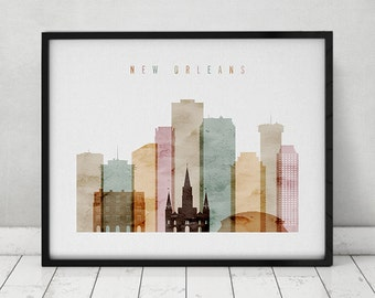 New Orleans Watercolor Print Poster Wall Art New Orleans Louisiana Skyline City