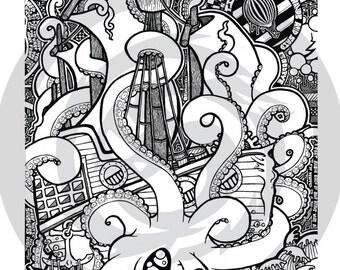 """Modest Octopus 18x24"""""""
