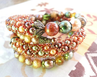 Hand beaded Bracelet with Tekla beads and mineral pearls, handmade jewelry