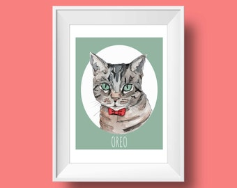 Cat Portrait-Giclee Print-Custom Cat-Pet Portrait-Gift-Custom Portrait-Wall Decor-Gift-Memorial Pet-Cat Portrait-Custom made-