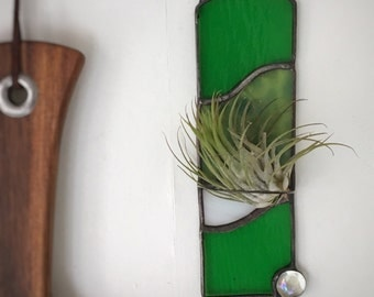 Green stained glass air plant holder