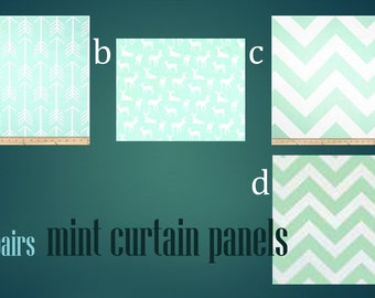 Mint Curtain Panels 25'' x 84'' withSizing Options Pair Lined Yellow Patterns