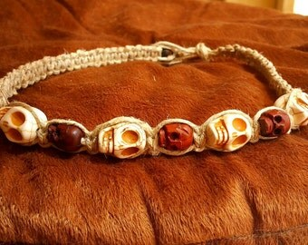 Hemp Necklace with Stone Skulls