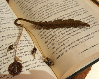 Metal Feather Bookmark with Charms
