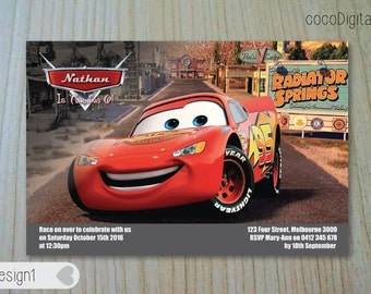 "PRINTED 4x6"" Cars Themed Birthday Invitation Custom Personalised Printable Boy Any Age 1st 2nd 3rd 4th 5th Party Supplies"