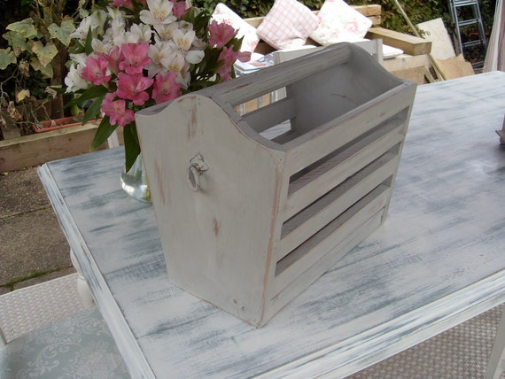 shabby chic solid pine magazine rack. Black Bedroom Furniture Sets. Home Design Ideas