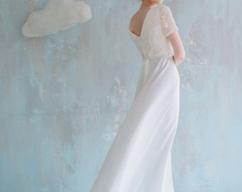Elegant floor length A-line wedding dress with semi-open back and finest ribbon belt, wedding gown