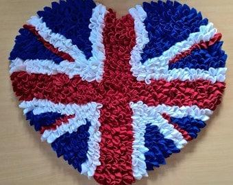 Cute British Heart Fluffy Floor Rug, Union Jack Rug, English Flag Rug, Kids Rug, Soft Rug, Puffy Rug