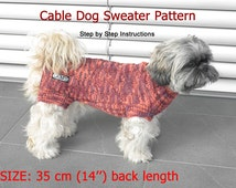 Dog Sweater Pattern - 35 cm (14'') back length/ DIY Dog Sweater/ Hand Knit Dog Sweater Pattern/ How to knit a dog sweater
