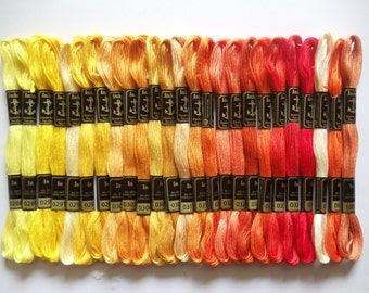 "25 Anchor Cross Stitch Cotton Thread/Floss/ Skeins  For Embroidery Work "" Yellow & Orange"" All Shades Different"