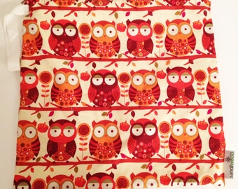 Wet Bag - Owls (34cm x 36cm)