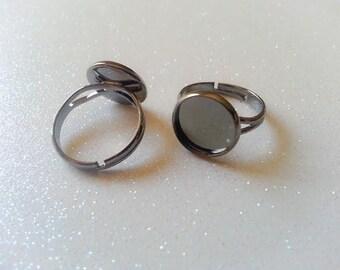 12mm Gunmetal, Dark Metallic Gray Adjustable Ring Blanks - 4 Pcs