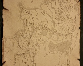 Lord of the Rings, Hobbit, Map of Middle Earth, Inspired Prop Replica
