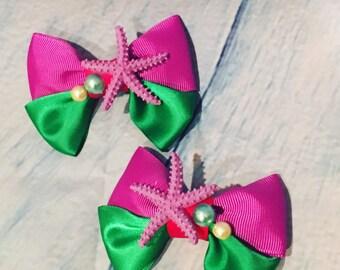 Ariel hair bows, little mermaid inspired, mermaid bows