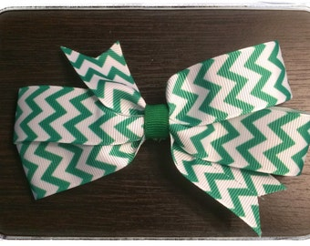 Green and white Chevron print boutique bow