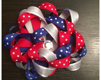 Red and Blue Polka Dot Loopy Bow