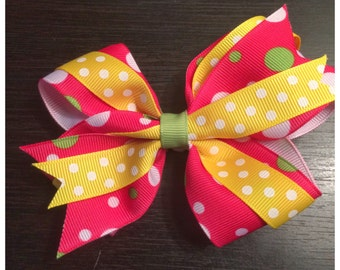 Pink, Yellow and Green Boutique Bow