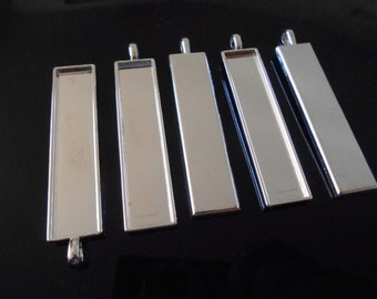 5 Silver pendant trays Glass dome necklace trays Rectangular Pendant blanks 10x50 mm Rectangle pendant bezel Resin pendant base Jewelry