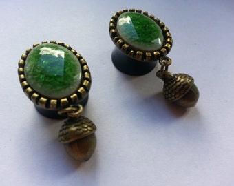 "Oval green nature plugs ""Acorn"" bronze"