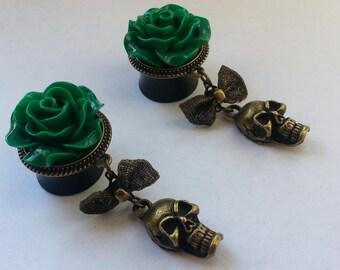 Plugs green roses with skulls bronze