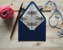 A2 5 Navy Envelopes Lined With Dark Purple Foil Dragonfly Print Handmade Stationery Set