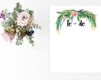 Notes, To Do List, Planner, Stationary, Floral,  8x10, Instant Download, Printable Artwork, Digital Art, Printable Wall Art